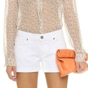 Paige Cuff Denim Shorts in Optic White
